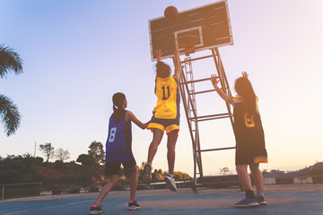 Girls playing basketball in park