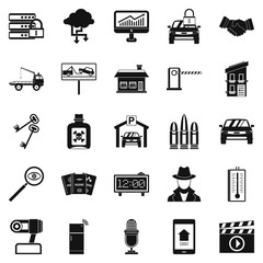 Car recorder icons set. Simple set of 25 car recorder vector icons for web isolated on white background