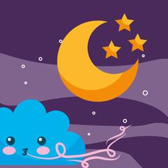 weather cartoon cloud wind moon and stars