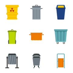 Garbage can icon set. Flat style set of 9 garbage storage vector icons for web isolated on white background