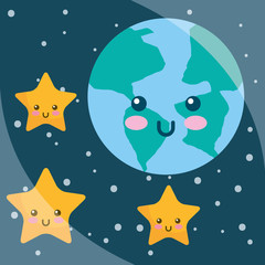 kawaii planet earth stars cartoon night sky