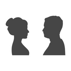 Male and female silhouettes opposite each other