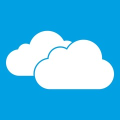 Clouds icon white isolated on blue background vector illustration