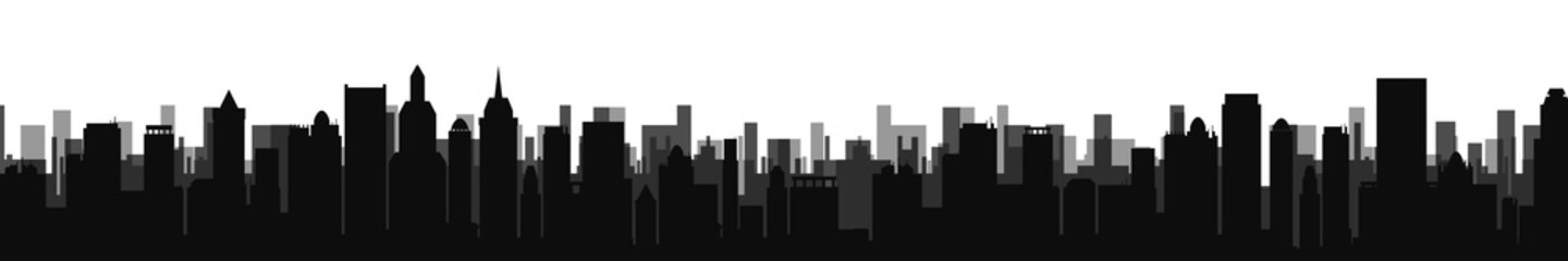 Black city silhouette - for stock