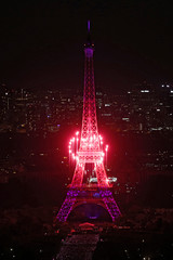 Fireworks form a heart shape in front of the Eiffel Tower, in a picture taken from the Montparnasse Tower Observation Deck, at the end of Bastille Day events in Paris