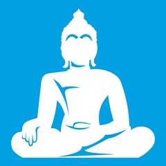 Statue of Buddha sitting in lotus pose icon white isolated on blue background vector illustration