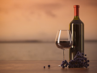 Glass of red wine, glass bottle of wine, grapes, wooden table, blurred background, copy text place. Seaview on sunset. 3D illustration