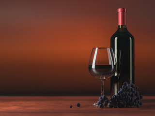 Glass of red wine, glass bottle of wine, grapes, wooden table, blurred deep red background, copy text place. 3D illustration