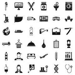 Craft icons set. Simple style of 36 craft vector icons for web isolated on white background