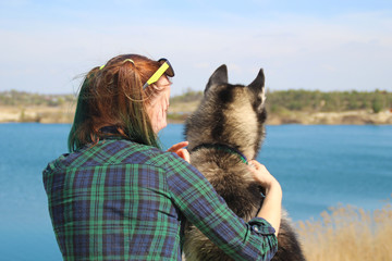 Photo of best friends girl and her husky.
