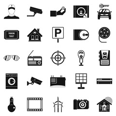 Surveillance cameras icons set. Simple set of 25 surveillance cameras vector icons for web isolated on white background