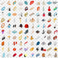 100 art icons set in isometric 3d style for any design vector illustration