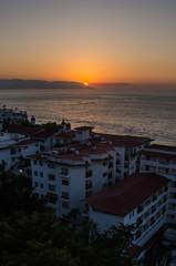 Last rays of sunset over Puerto Vallarta, Mexico
