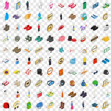 100 clothes icons set in isometric 3d style for any design vector illustration