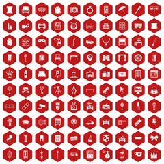 100 mirror icons set in red hexagon isolated vector illustration