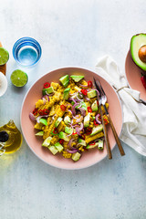 grilled corn , avocado salad with blue onion and chili pepper. healthy summer breakfast or lunch. copy space