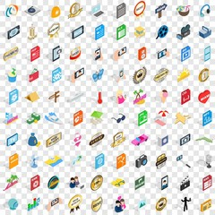 100 dj icons set in isometric 3d style for any design vector illustration