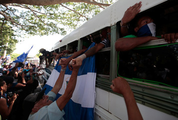 University students are welcomed during their arrival at the Metropolitan Cathedral in Managua
