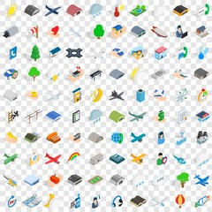 100 flight aviation icons set in isometric 3d style for any design vector illustration