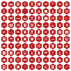 100 school icons set in red hexagon isolated vector illustration