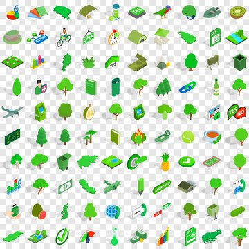 100 green icons set in isometric 3d style for any design vector illustration