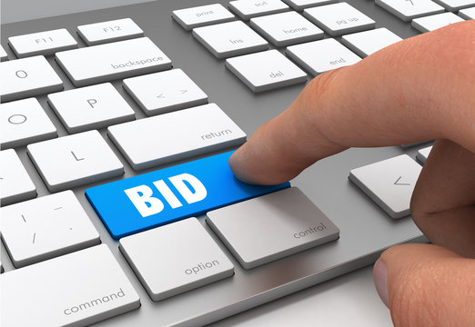 bid button concept 3d illustration