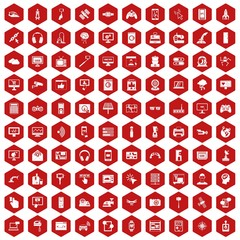 100 software icons set in red hexagon isolated vector illustration