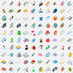 100 knowledge icons set in isometric 3d style for any design vector illustration
