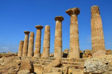 Hercules Temple ancient columns, Italy, Sicily, Agrigento