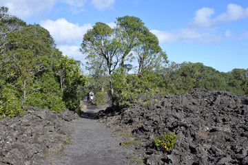 Couple trekking in Rangitoto Island New Zealand