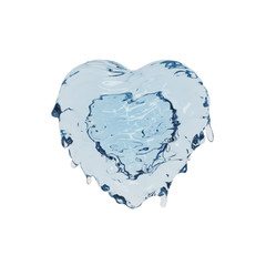 Liquid fresh water splash in the form of heart, isolated on white background, 3d illustration concept for valentine day or love.