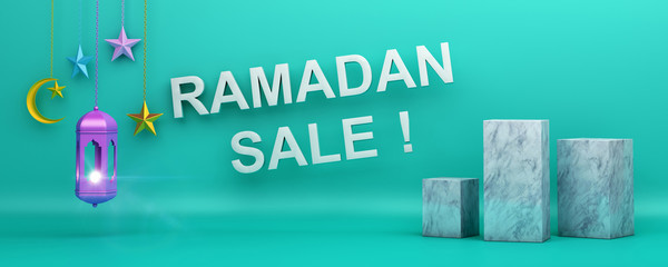 Ramadan Sale text, web header or banner design with lantern crescent moon star pastel colorful scheme and box display marble product mock up on blue background. 3D rendering illustration.
