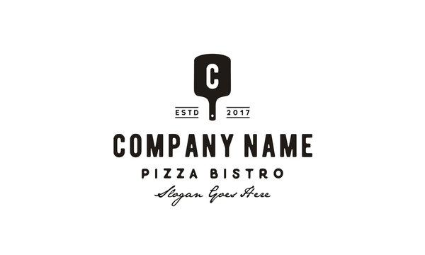 Vintage Retro Italian Pizza Pizzeria Spatula Logo design inspiration