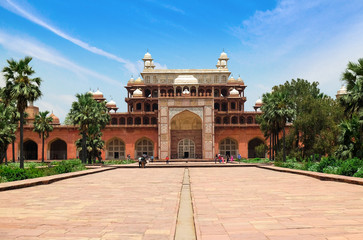 Wide angle of Tomb of Akbar the Great, India