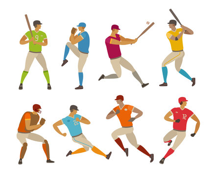 Baseball players. Sport concept. Cartoon vector illustration