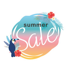Summer sale illustration with tropical plants