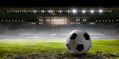 Soccer game concept. Mixed media