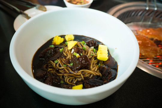 Jajangmyeon is a Korean Chinese noodle dish topped with a dark thick bean sauce