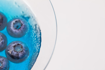 a glass of blueberry in blue water on white background