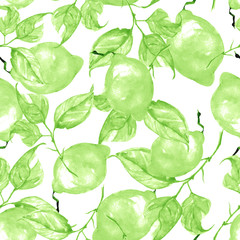 Vintage seamless watercolor pattern - hand drawing threads of lemon, lime  with leaves. Trendy pattern. Painting