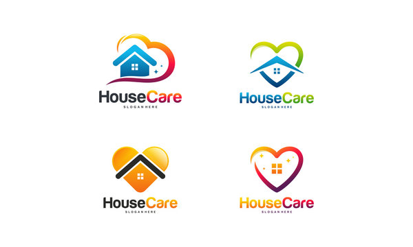 Set of House Care logo designs concept vector, Home and love logo template