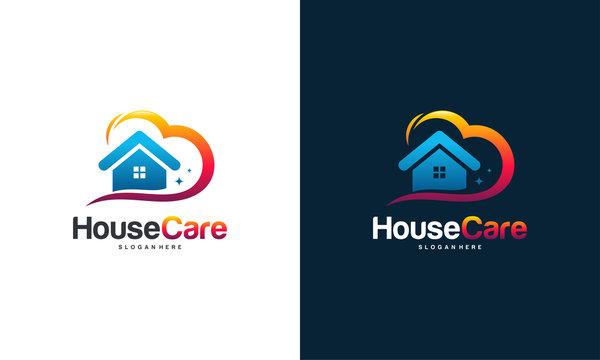 House Care logo designs concept vector, Home and love logo template