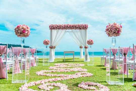 Romantic wedding ceremony on the lawn Sea view.