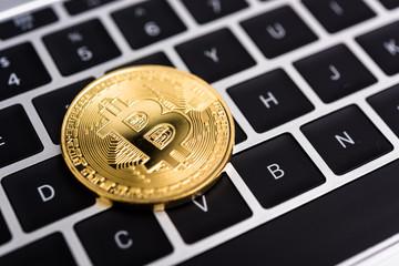 Coin, virtual digital golden bitcoin money business