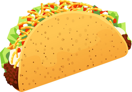 Crispy ground beef taco with shredded lettuce, sour cream, grated Colby Jack cheese, and diced onions and tomatoes. Isolated vector illustration.