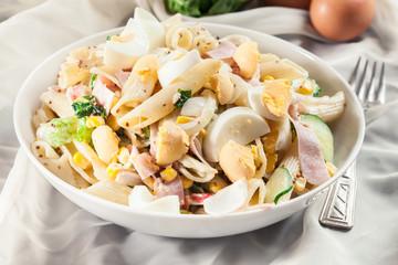 Macaroni salad with ham and other