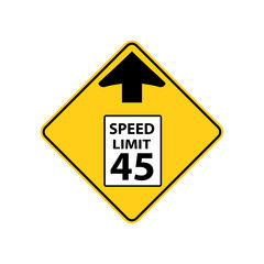 USA traffic road signs. reduce speed limit sign ahead. vector illustration