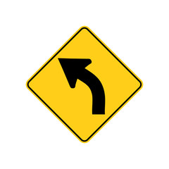 USA traffic road signs. left curve ahead. vector illustration