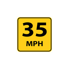 USA traffic road signs. maximum advised speed in 35 mph in ideal driving condition  . vector illustration