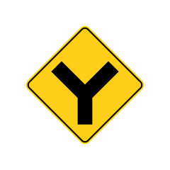 "USA traffic road signs. ""Y"" intersection ahead. vector illustration"